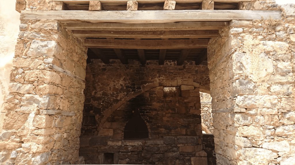 Crete Fire place inside Disinfectant Room